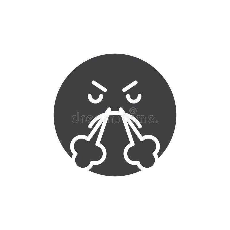 Sonrisa enojada del Emoticon con vapor del icono del vector de la nariz stock de ilustración