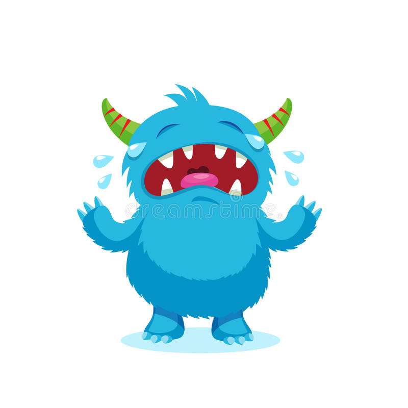 Sonrisa enojada Monstruo de las emociones Carácter azul de la mascota de la historieta del monstruo del grito de la bestia de las libre illustration
