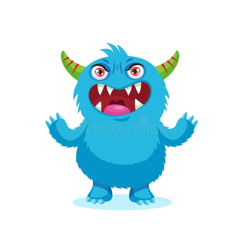 Sonrisa enojada Monstruo de las emociones Cara malvada enojada Carácter azul siniestro de la mascota de la historieta del monstru ilustración del vector