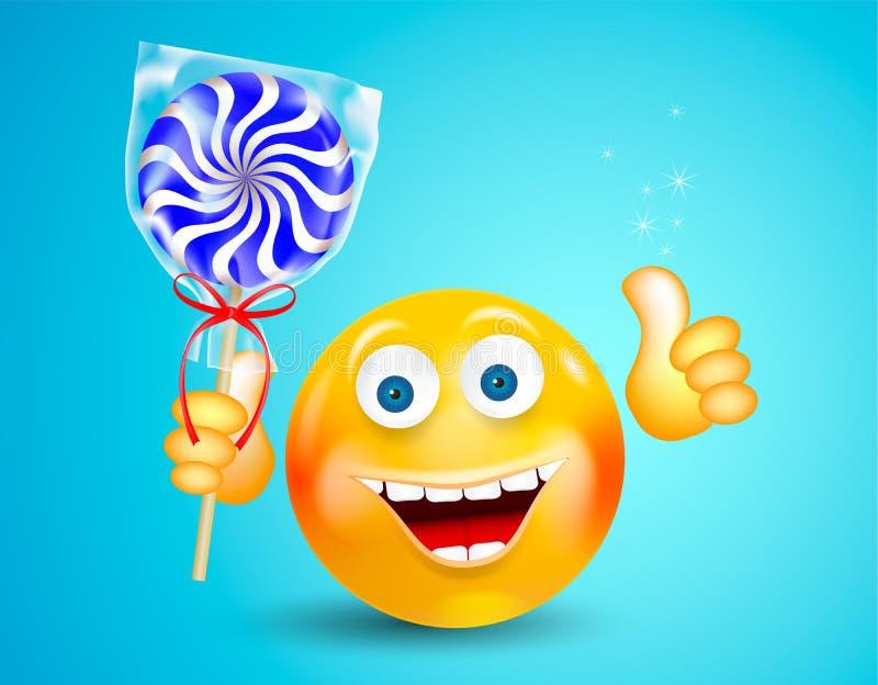 Sonrisa feliz alrededor de la cara que sostiene la piruleta dulce del caramelo y que muestra el pulgar para arriba en fondo azul  libre illustration