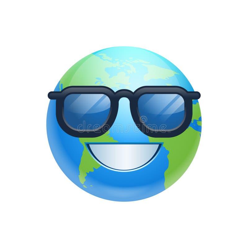Sonrisa feliz de la cara de la tierra de la historieta que lleva la emoción divertida del planeta del icono de los vidrios de Sun libre illustration