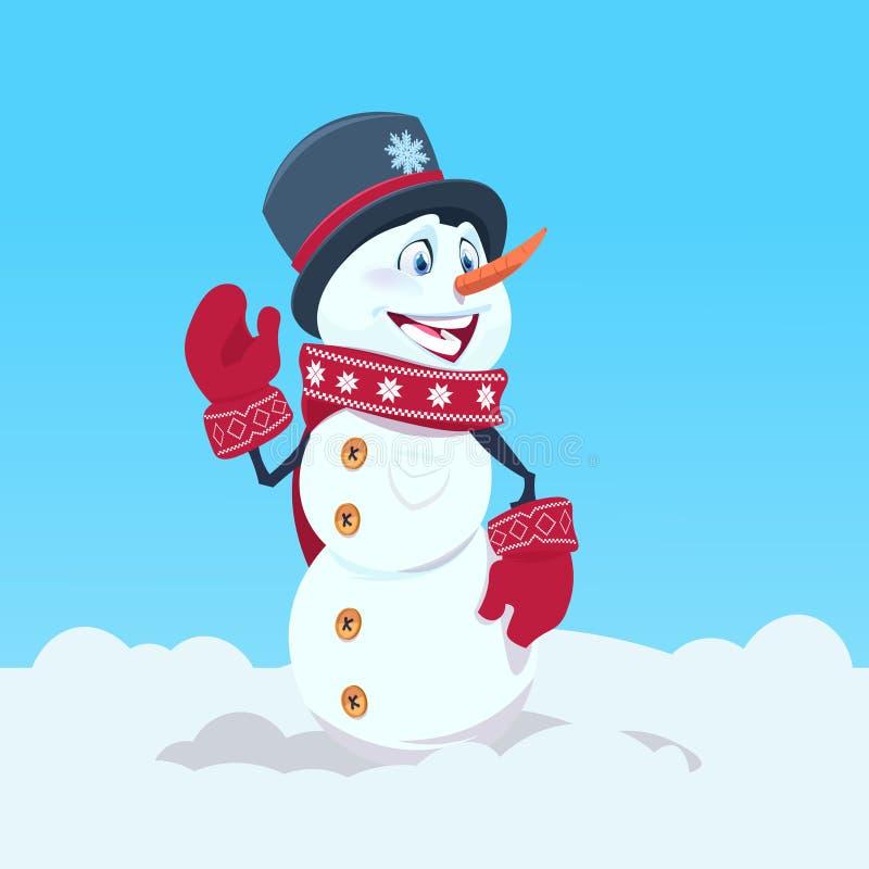 Sonrisa feliz del sombrero y de la bufanda del muñeco de nieve que lleva lindo sobre fondo azul de la nieve stock de ilustración