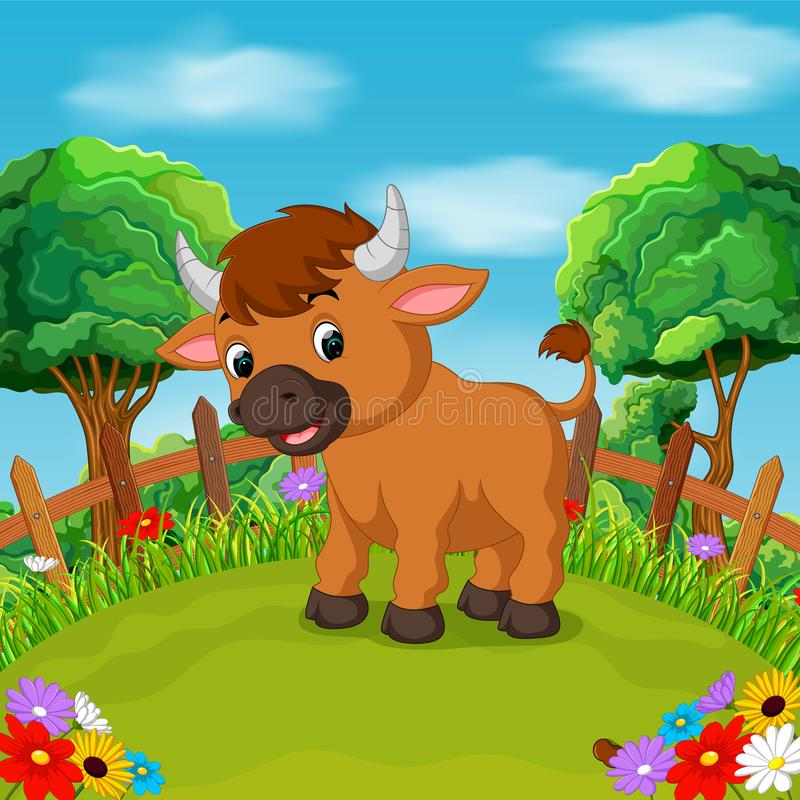 Sonrisa feliz del toro de la historieta en la granja stock de ilustración