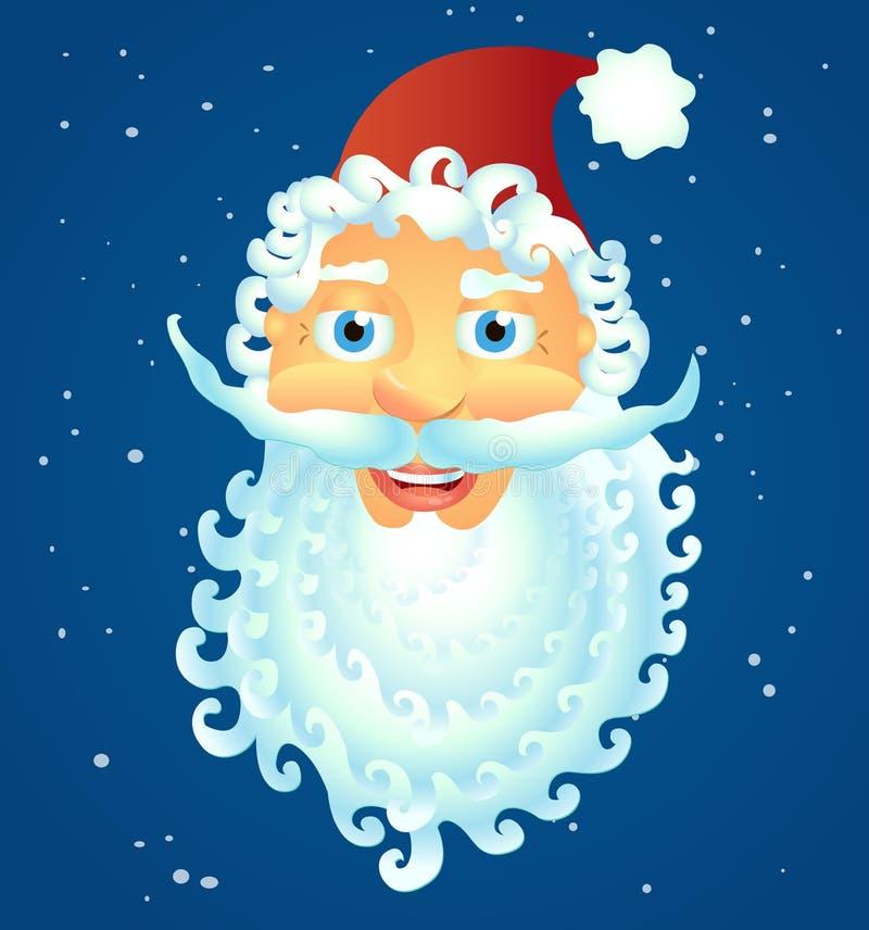 Sonrisa feliz Santa Claus aislada en el vector blanco Illu del fondo ilustración del vector