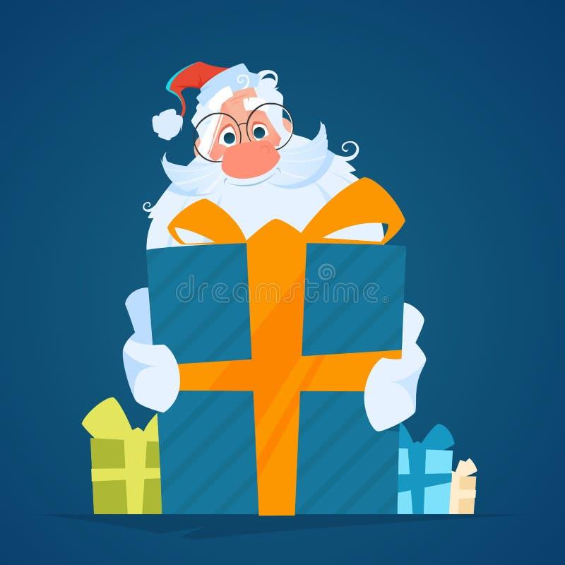 Sonrisa feliz santa que sostiene una caja de regalo grande stock de ilustración