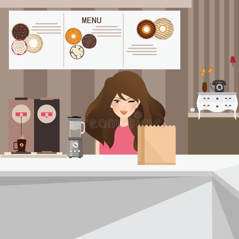 Sonrisa femenina del cliente de la mujer en café con los anillos de espuma y el café en interior del fondo stock de ilustración