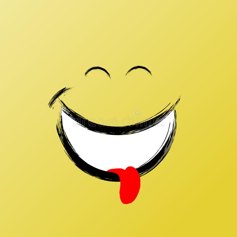 Sonrisa, gráfico divertido del cepillo, icono de la sonrisa del vector Ejemplo gráfico inspirado y de motivación ilustración del vector