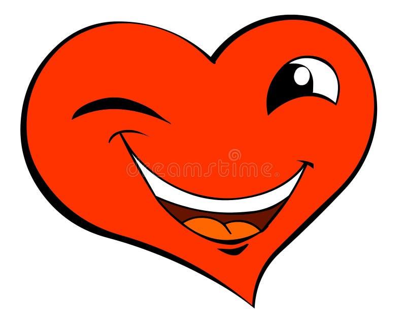 Sonrisa guiñando el corazón ilustración del vector