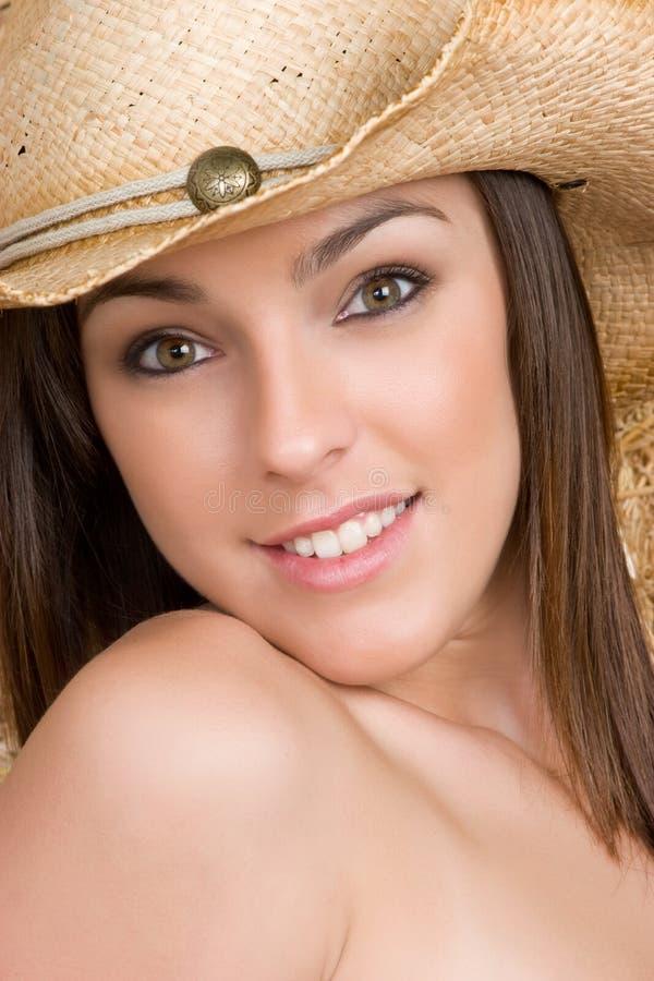 Sonrisa hermosa del Cowgirl imagenes de archivo