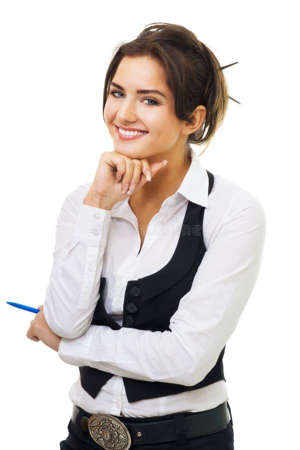 Sonrisa joven confidente de la mujer de negocios imagen de archivo