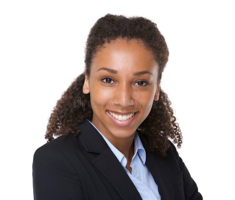 Sonrisa joven confidente de la mujer de negocios fotos de archivo libres de regalías