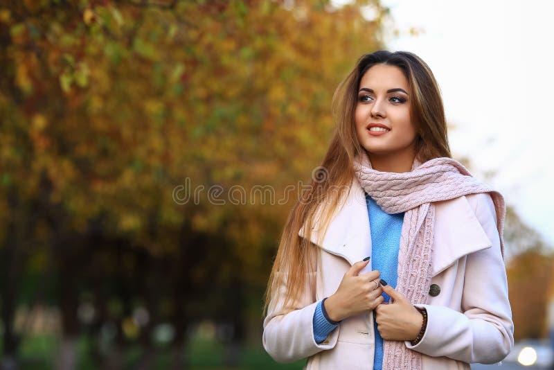 Sonrisa joven de la mujer y fondo amarillo del jardín del arce de la caída Espacio libre foto de archivo