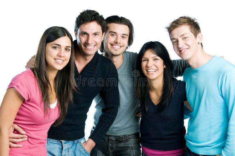 Sonrisa joven feliz de los amigos imagenes de archivo