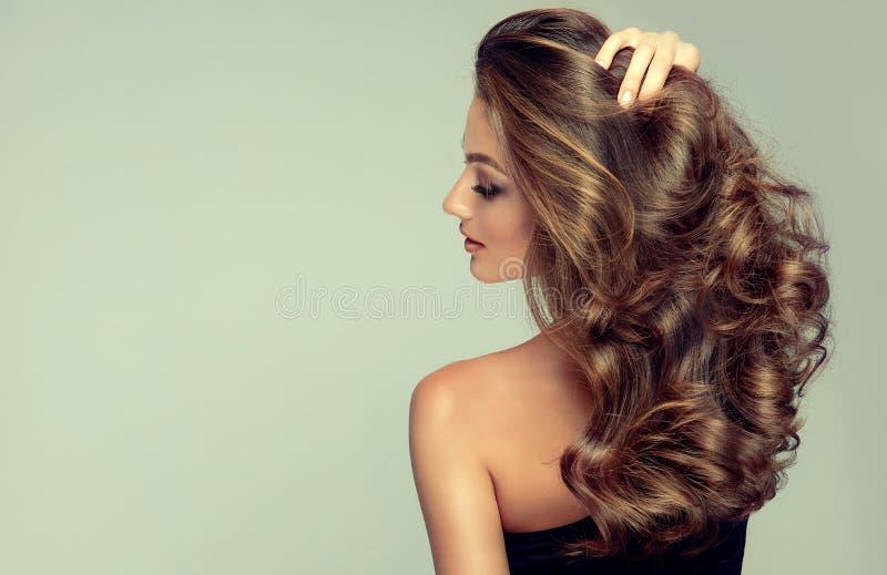 Sonrisa ligera y dif?cil en la cara del modelo hermoso cabelludo joven, marr?n con el pelo largo, rizado, bien preparado foto de archivo libre de regalías