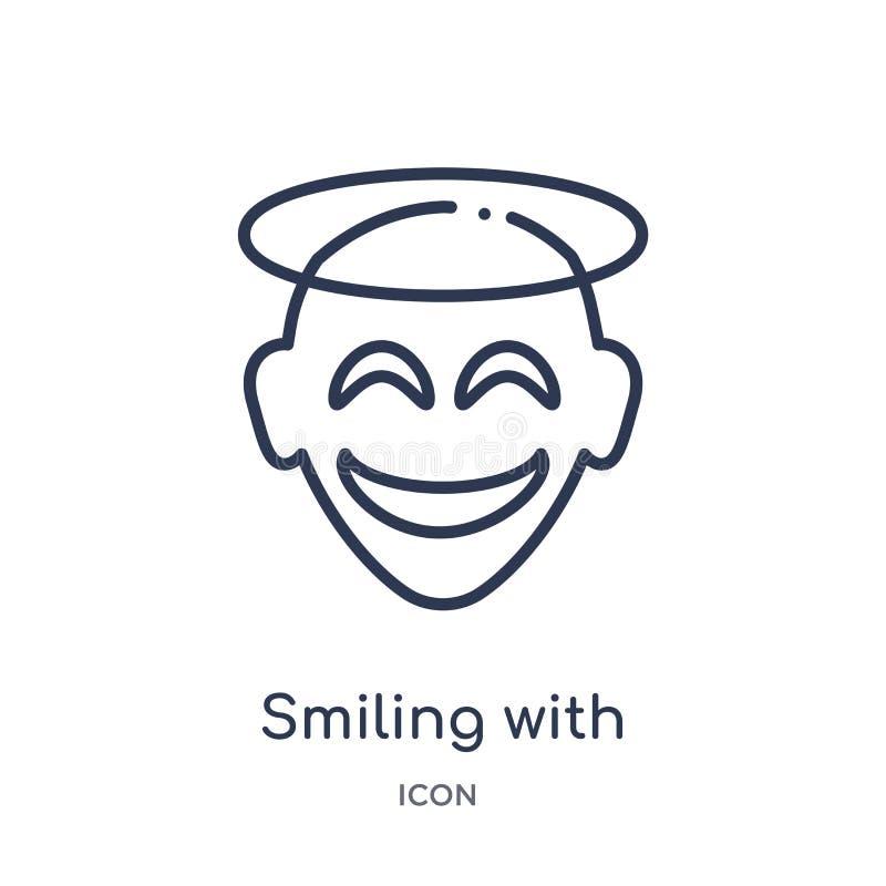 Sonrisa linear con el icono del emoji del halo de la colección del esquema de Emoji Línea fina que sonríe con el vector del emoji ilustración del vector