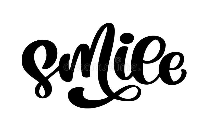 Sonrisa Mano dibujada poniendo letras al cartel de la tipografía del texto Diseño caligráfico de la mano de la camiseta Tipografí stock de ilustración