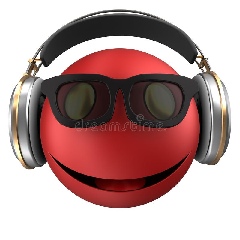 sonrisa roja del emoticon 3d stock de ilustración