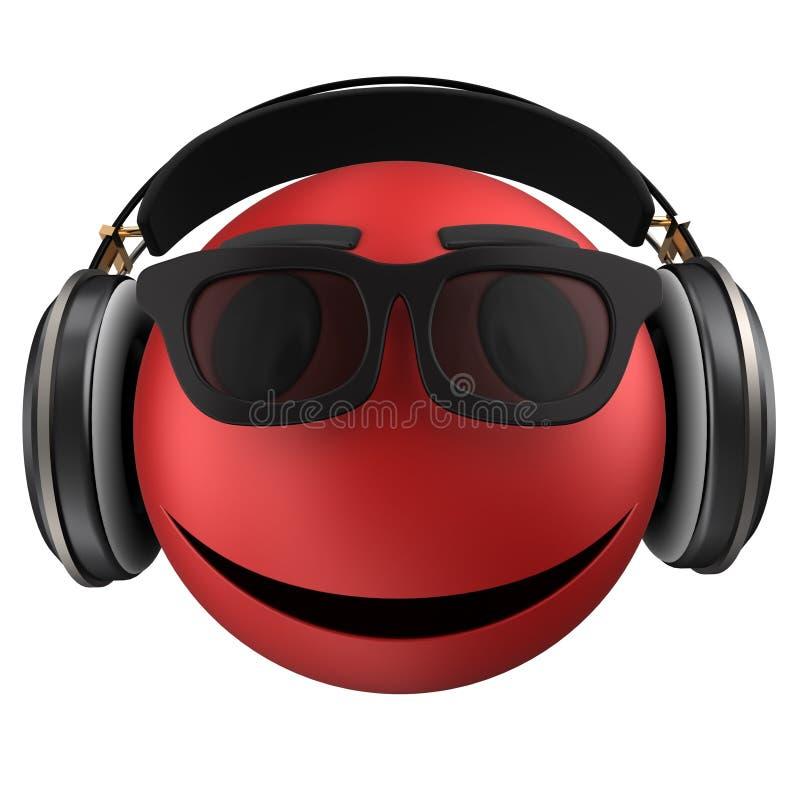 sonrisa roja del emoticon 3d ilustración del vector
