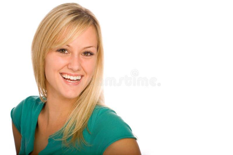 Sonrisa rubia feliz de la mujer fotos de archivo