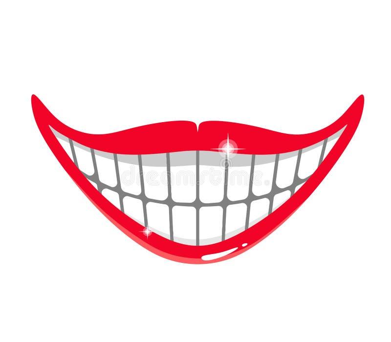Sonrisa sarcástica y divertida de la historieta con los dientes del brillo Ilustraci?n del vector en el fondo blanco libre illustration