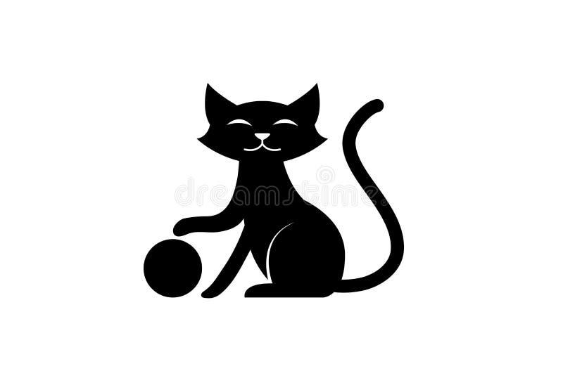 Sonrisa y juego del gato negro con la bola para el icono del animal doméstico del logotipo stock de ilustración