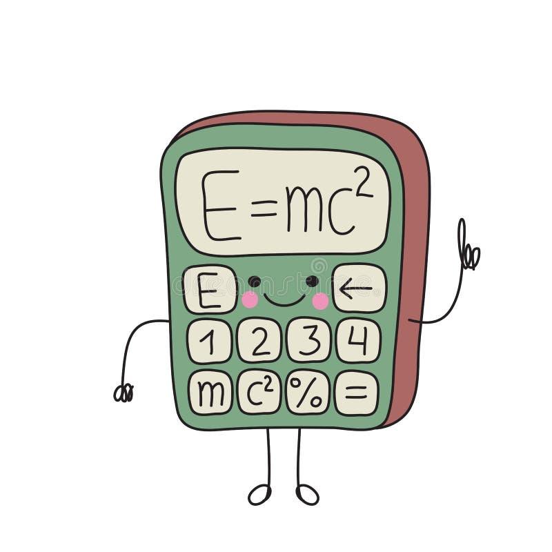 Sonrisas divertidas de la calculadora de la historieta ilustración del vector
