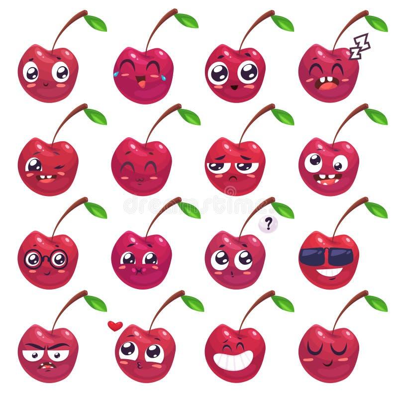 Sonrisas fijadas de caracteres de la fruta Historietas lindas del vector libre illustration