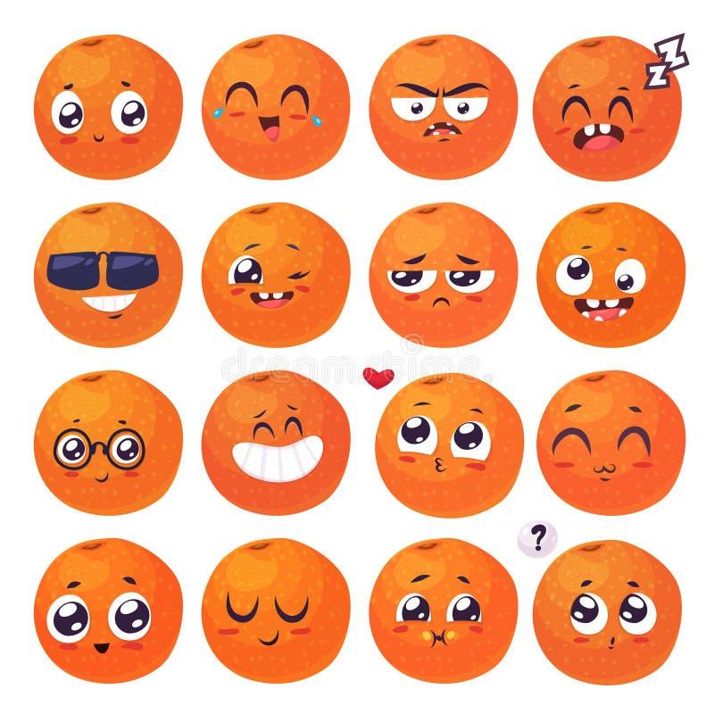 Sonrisas fijadas de caracteres de la fruta Historietas lindas del vector stock de ilustración