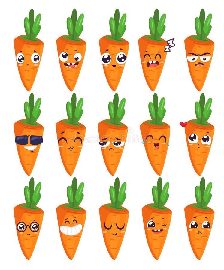 Sonrisas fijadas de caracteres de la fruta Historietas lindas del vector ilustración del vector