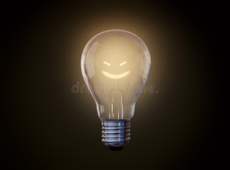 Sonrisas incandescentes del bulbo ilustración del vector