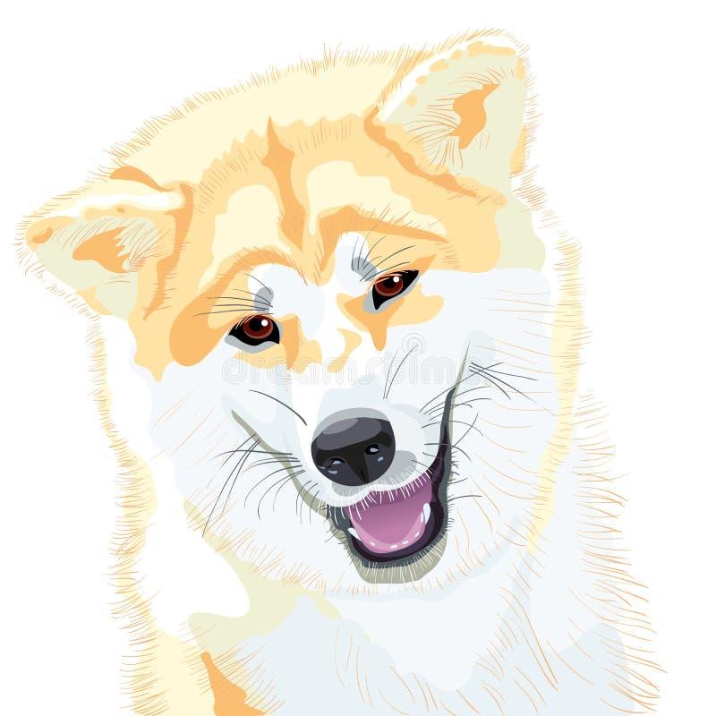 Sonrisas japonesas del perro de Akita Inu del bosquejo del vector stock de ilustración