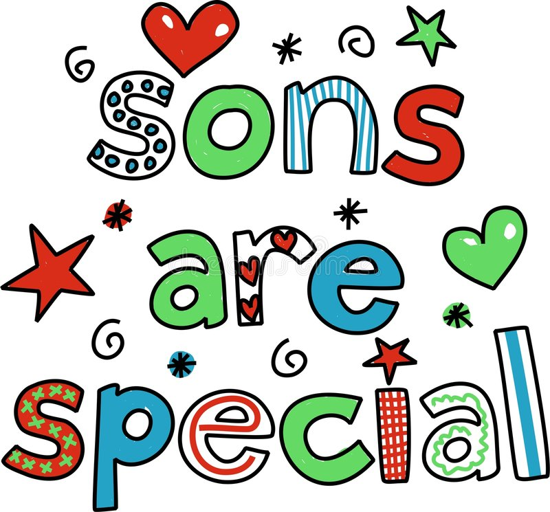 Sons are special. Whimsical decorative Sons are Special text greeting isolated on white royalty free illustration