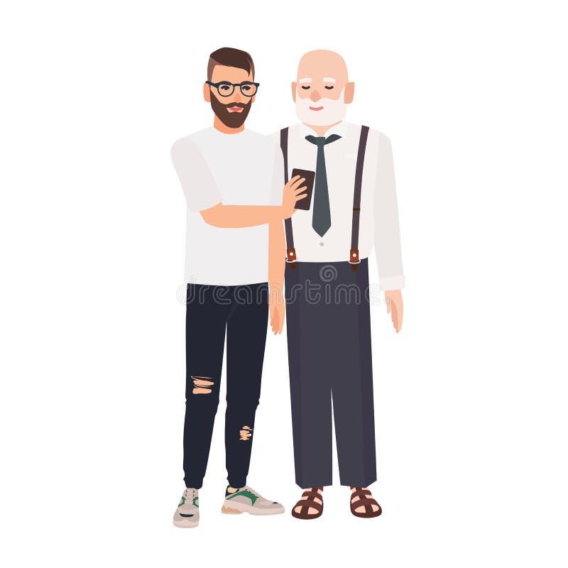 Sonson som visar smartphonen till hans farfar Gullig le äldre man och ung grabb som tillsammans spenderar tid vektor illustrationer