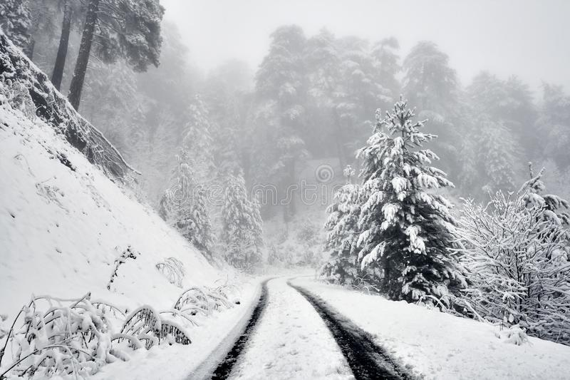A sonwy and foggy mountain road royalty free stock images