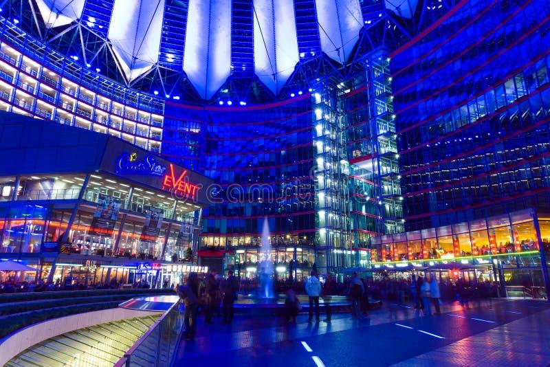 Sony Centre on Postadmer Platz to night lighting royalty free stock photos