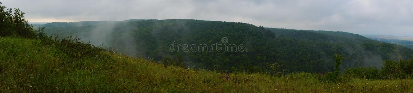Kudeyar hill fog. SONY DSC when here there was a mighty ancient ocean floor and now it`s the majestic hills of the robber Kudeyar royalty free stock image