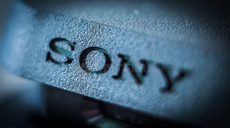 Sony gatunku imienia inskrypcja w górę fotografia royalty free