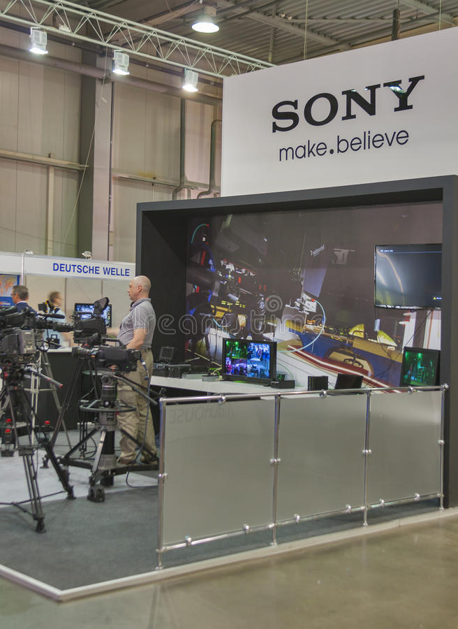 Download Sony TV equipment booth editorial stock photo. Image of recording - 37670358