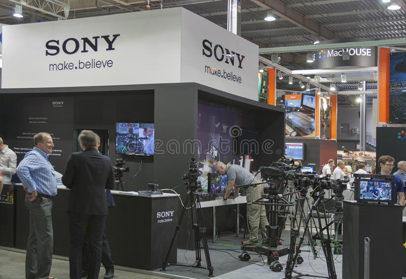 Download Sony TV equipment booth editorial stock photo. Image of exhibition - 37670368