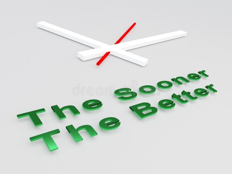 The Sooner The Better concept stock illustration