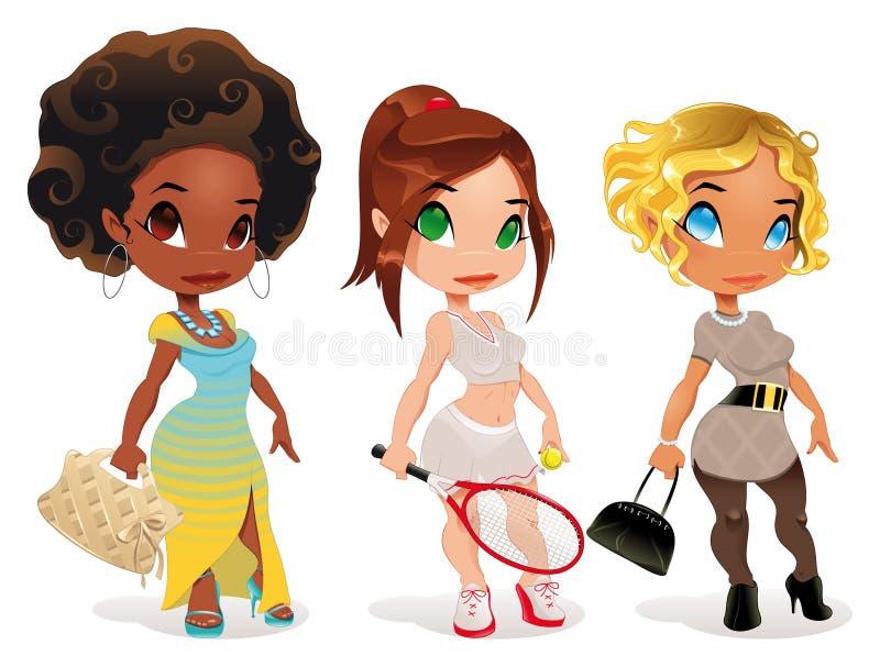 Soort drie dames. vector illustratie