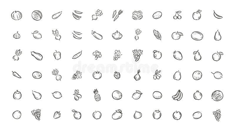 Soort groenten en fruit Vectorillustratie van voedsel stock foto's