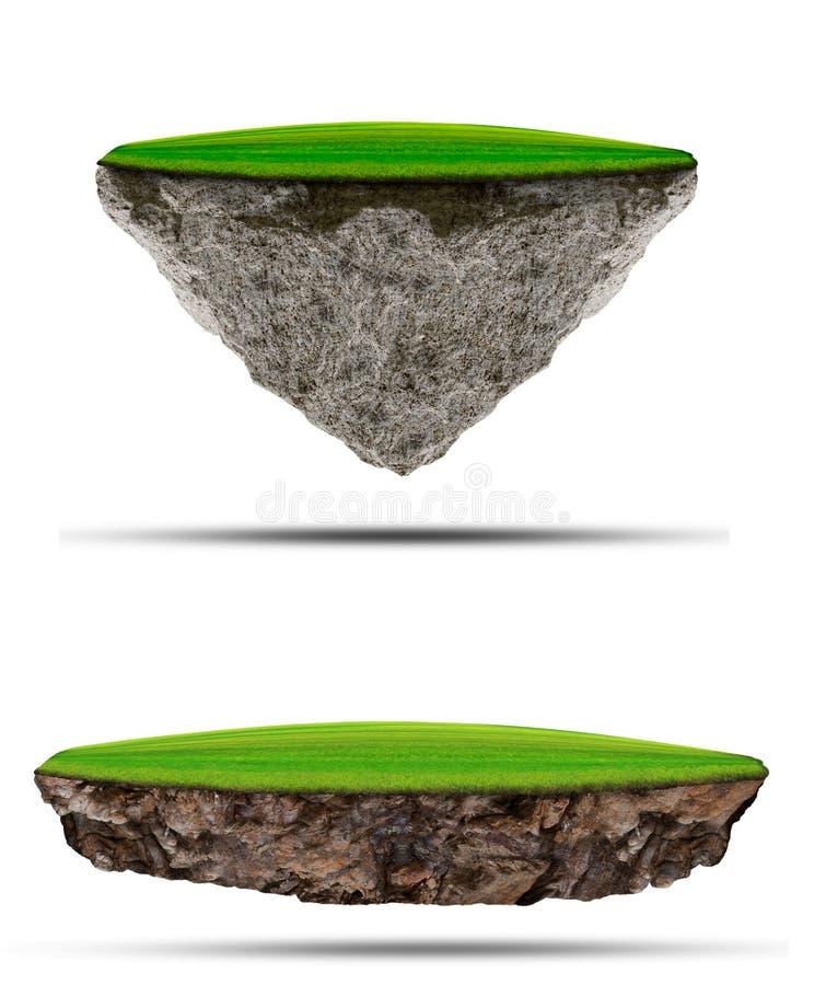 Soort twee drijvend groen grasgebied over rotseiland op whit stock illustratie