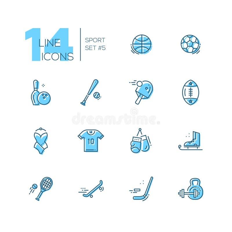Soorten Sport - geplaatste lijnpictogrammen royalty-vrije illustratie