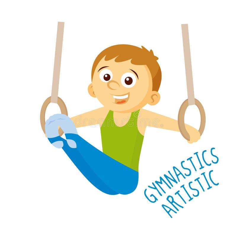 Soorten sporten atleet Artistieke gymnastiek royalty-vrije illustratie