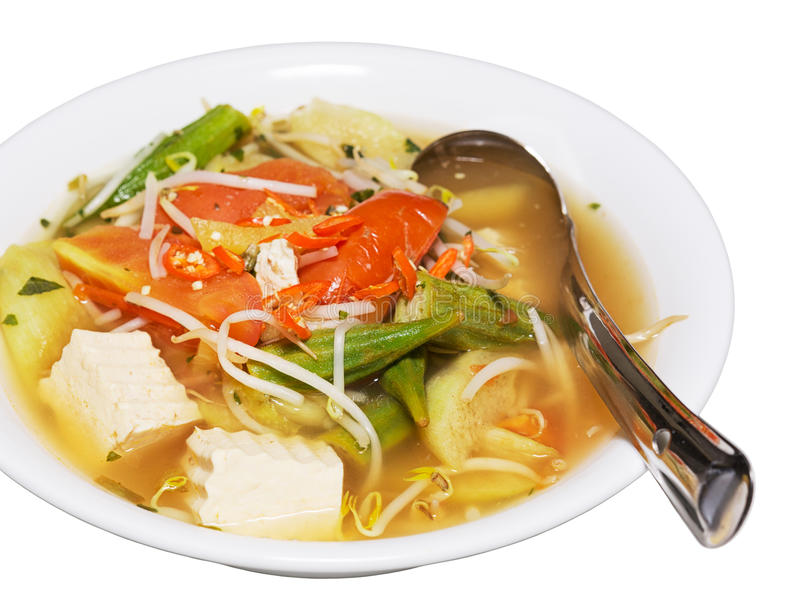 Sopa ácida vietnamiana deliciosa, quente foto de stock