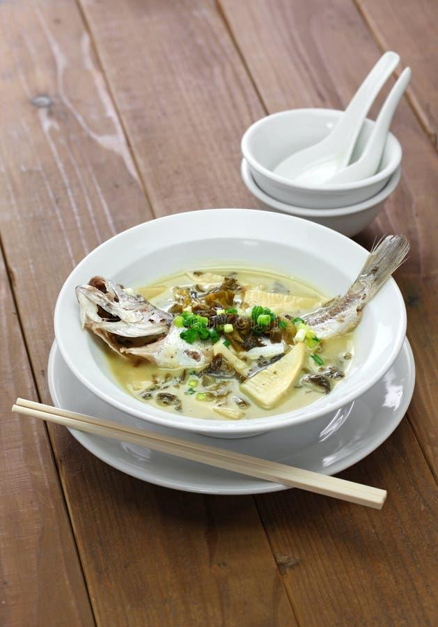 Sopa amarela dos peixes do grasnador com o vegetal preservado da neve imagens de stock