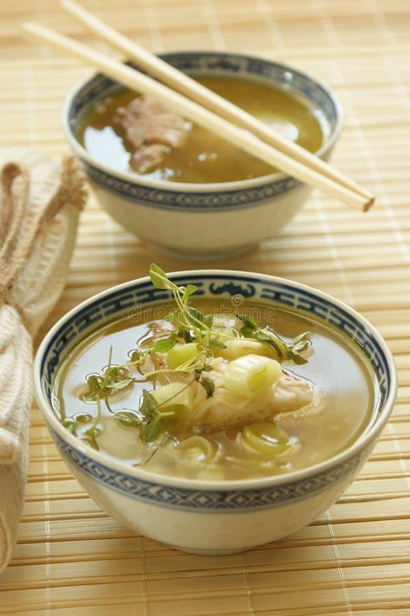 Sopa asiática de los pescados con los tallarines fotografía de archivo libre de regalías