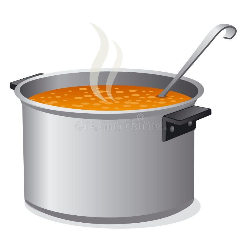 Sopa caliente en cacerola stock de ilustración