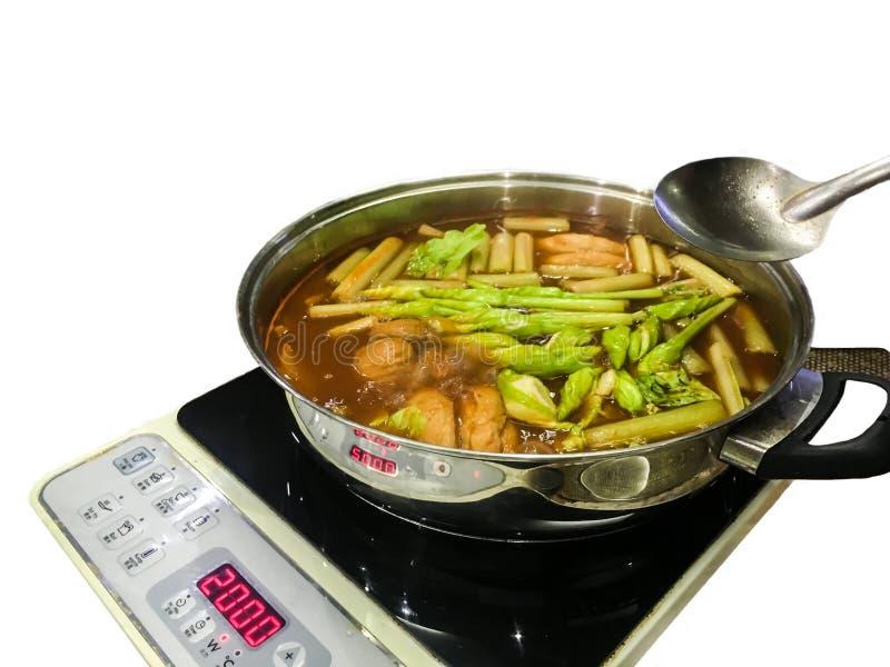 Sopa caliente y amarga tailandesa, pote caliente, servicio con las verduras clasificadas imágenes de archivo libres de regalías
